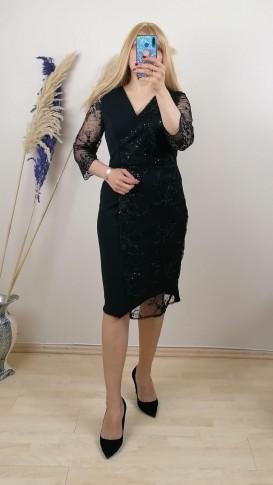 Tül Detaylı Kolları  Dantel İşlemeli Elbise - Siyah