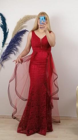 Volan kollu Üzeri Dantelli Tül Etek Elbise - Kırmızı