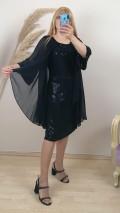 Şifon Kumaş  Battal Beden İşlemeli Elbise - Siyah