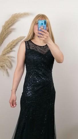 Volan kollu Üzeri Pullu Tül Etek Elbise - Siyah
