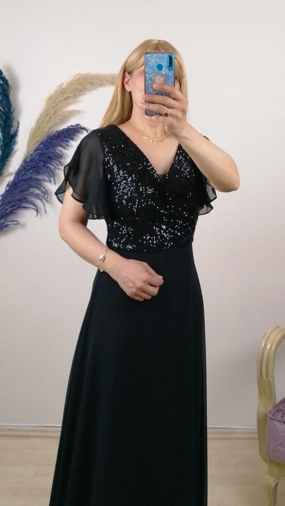 Üzeri Pullu Kolu Şifon Uzun Elbise - Siyah