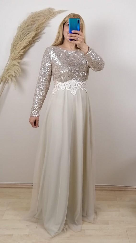 Uzun Kollu Gold Payetli Elbise - Gold