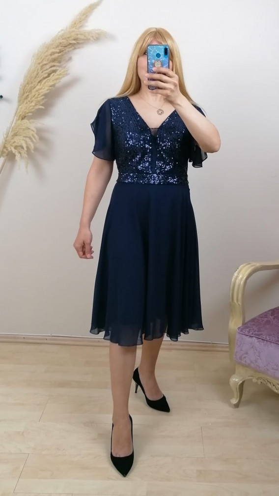 Tül Detay İşlemeli Şifon Elbise - Lacivert