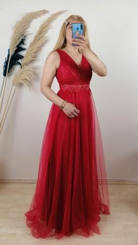 Beli  Ve Üzeri Motifli Uzun Dantel Elbise - Kırmızı