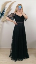 Askılı Uzun Dantel Elbise - Siyah