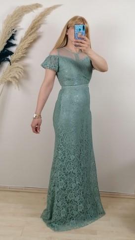 Beli  Ve Üzeri Motifli Uzun Dantel Elbise - Yeşil