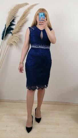 Yakası kolları su taşlı Elbise - Lacivert
