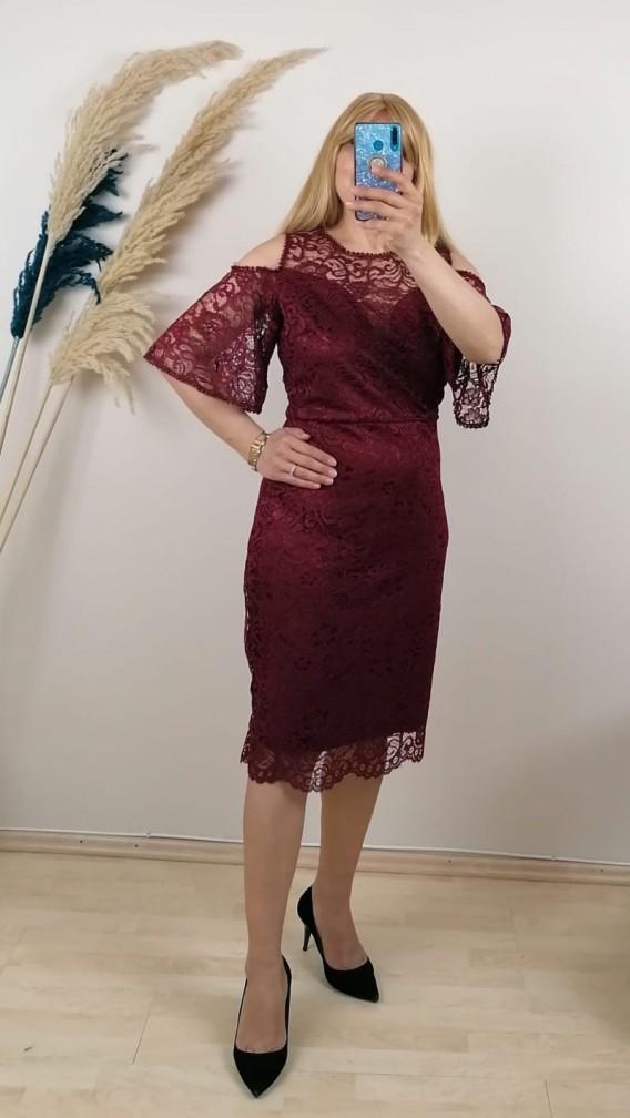 Dantel Kol Detaylı Elbise- Bordo