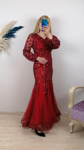 Balık Model Pul İşlemeli Elbise - Kırmızı