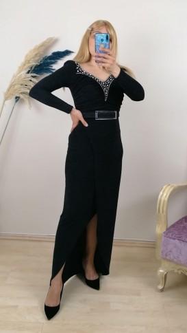 Önü Taş İşlemeli Kemer Detaylı Likralı Elbise - Siyah