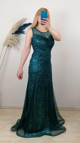 Kolsuz Üzeri Pul Payet İşlemeli Elbise - Yeşil