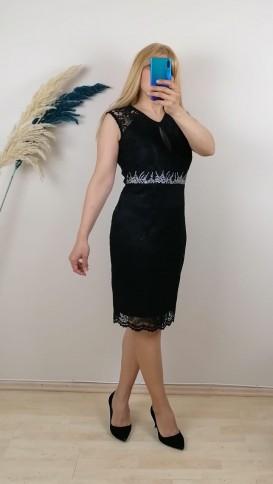 Beli su taşlı Dantel Elbise - Siyah