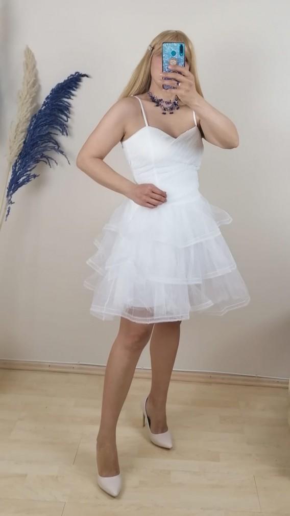 Askılı Pliseli Mini Elbise - Beyaz
