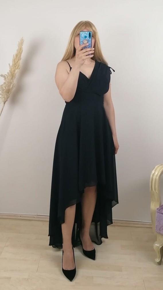 Tek Omuz Önü Kısa Şİfon Elbise- Siyah
