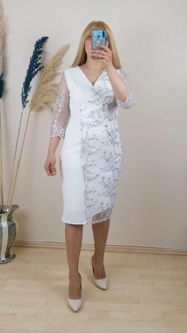 Tül Detaylı Kolları  Dantel İşlemeli Elbise - Beyaz