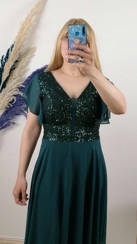 Tül Detay İşlemeli Şifon Elbise - Yeşil