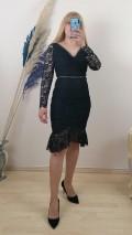 Beli Göğsü Motifli Uzun Kol dantel Elbise - Siyah
