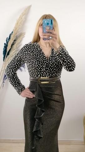 Balık Model Kemerli Yırtmaçlı Elbise - Gold