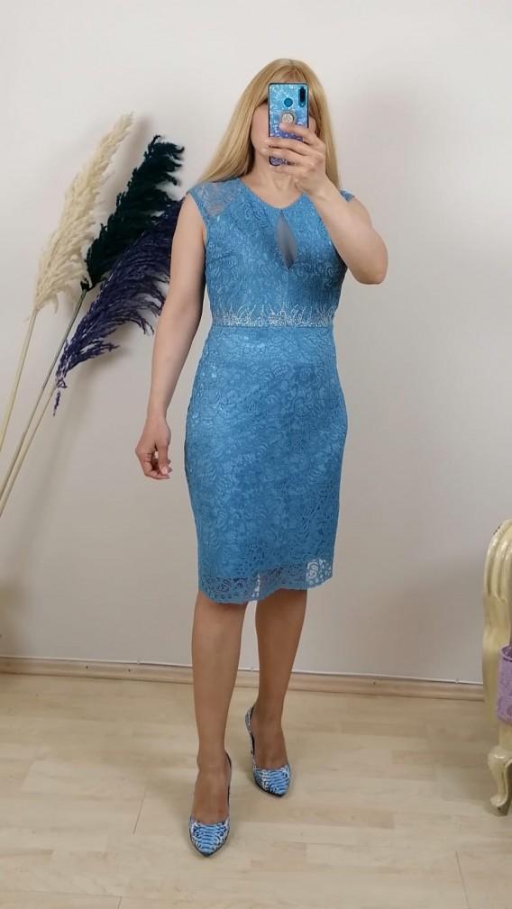 Beli su taşlı Dantel Elbise - Mavi