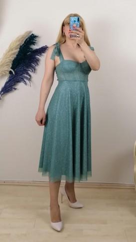Beli Biyeli Askılı Elbise - Yeşil
