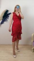 FırFır Detaylı Dantel Elbise - Kırmızı