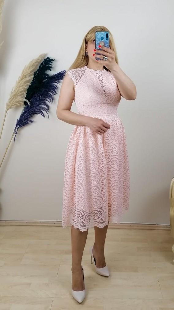 Fisto  Detaylı Dantel Elbise - Pudra