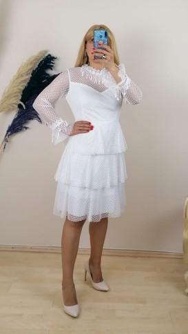 Etekleri Kat Kat Dantel İşlemeli Elbise - Beyaz