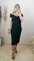 Madonna Yaka Simli Likralı Elbise - Yeşil