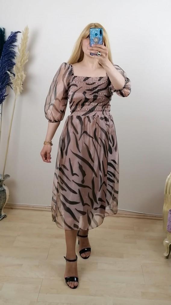 Zebra Desen Organze Elbise - Bej