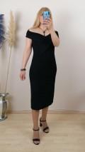 Madonna Yaka Simli Likralı Elbise - Siyah