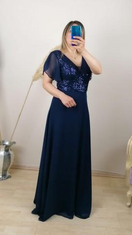 Üzeri Pullu Kolu Şifon Uzun Elbise - Lacivert