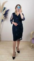 Tül Detaylı Kolları  Dantel İşlemeli Elbise - Lacivert