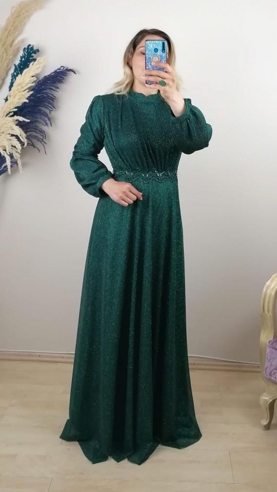 Üzeri Ve Kolları Pliseli Uzun Elbise - Yeşil