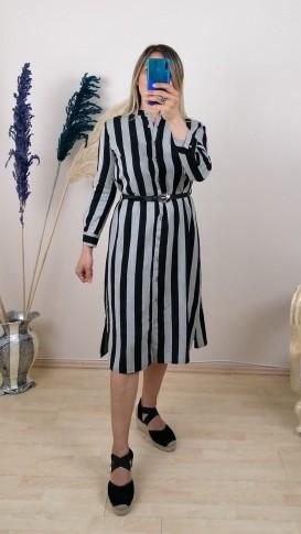 Çizgili Önden Düğmeli Kemer Detaylı Elbise