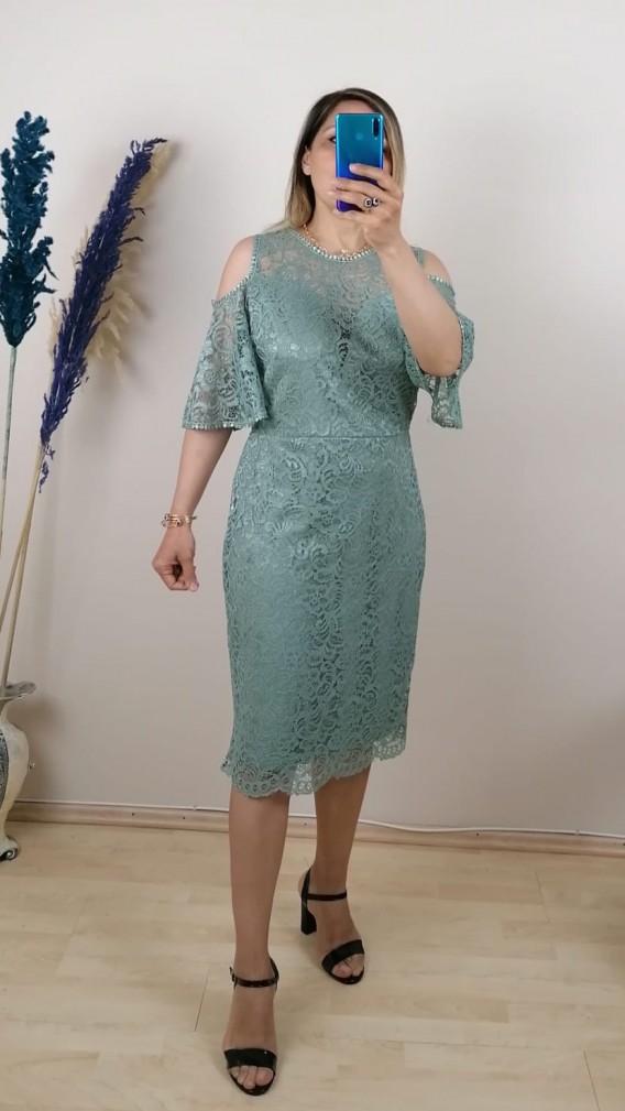 Dantel İşlemeli Elbise - Yeşil
