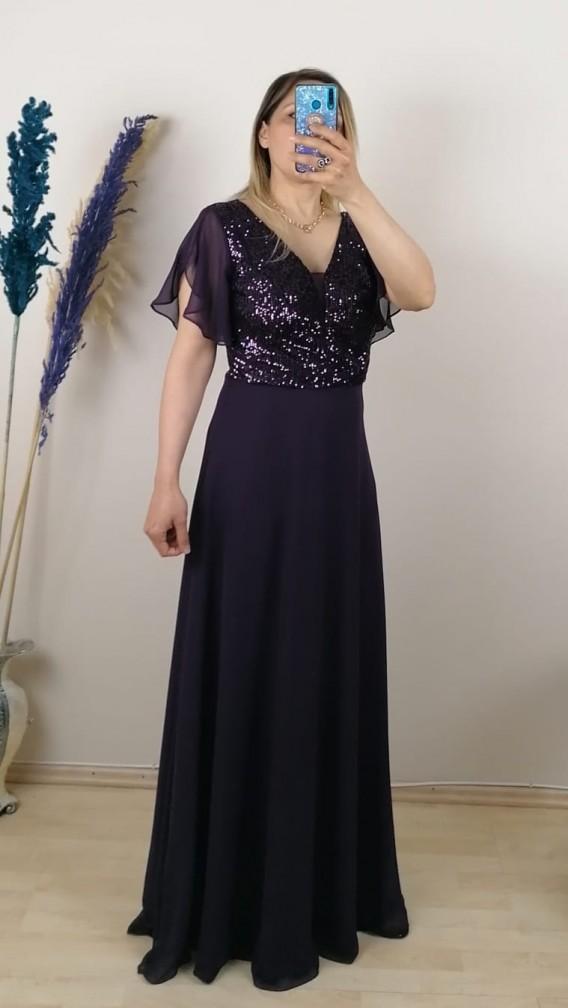 Üzeri Pullu Kolu Şifon Uzun Elbise - Mor