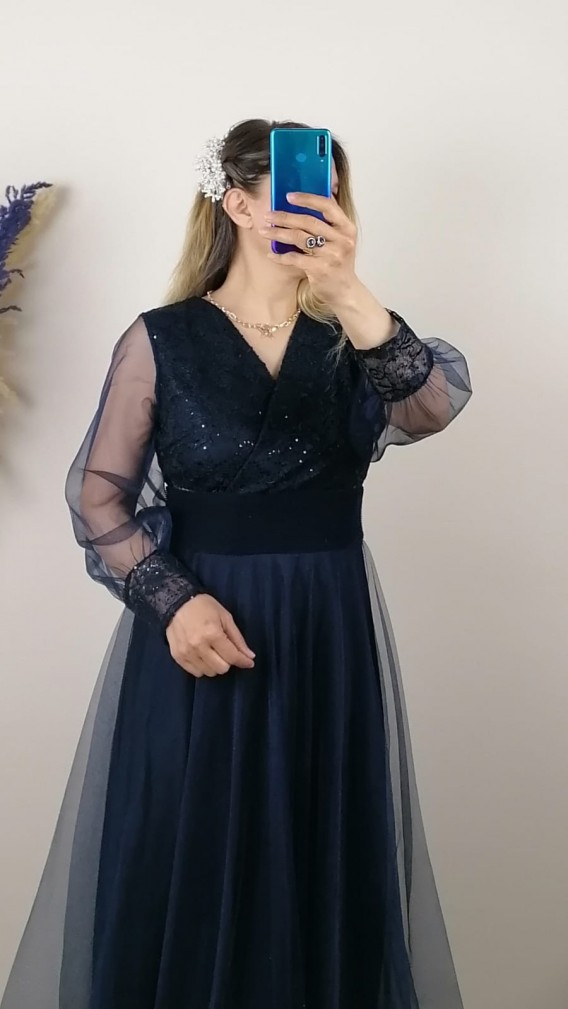 Beli Pliseli Kol Ucu Dantelli Uzun Elbise - Lacivert