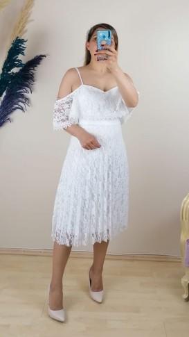 Askılı Eteği Pliseli Dantel Elbise - Beyaz