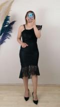 Eteği Parça volanlı Dantell Elbise - Siyah