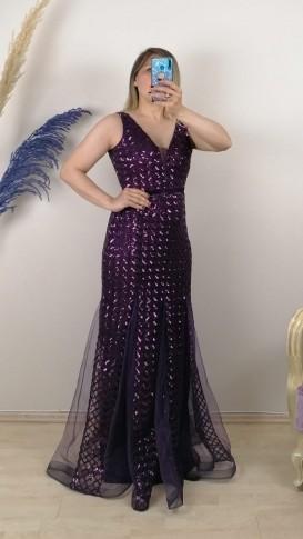 Eteği Tül Parcalı Karelı Payetli Elbise - Mor