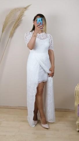 Dantel İşlemeli  Uzun Elbise - Beyaz
