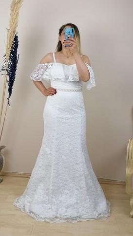 Etek Ucu Tül Askılı Dantel Elbise - Beyaz