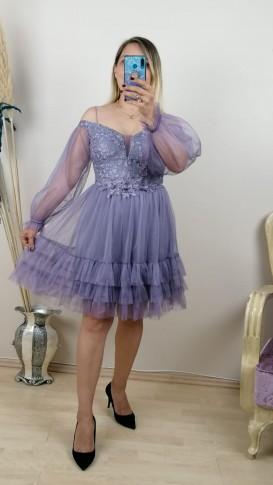 Madonna Yaka Eteği Fırfırlı Beli Motifli Elbise - Lila