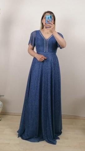 Yakası Taşlı  Simli Uzun Elbise - Mavi