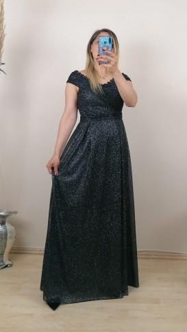 Göğsü Taşlı Simli Uzun Elbise - Siyah