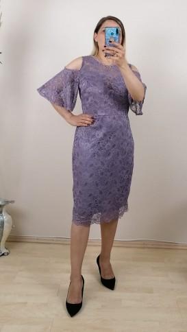 Dantel Kol Detaylı Elbise- Lila