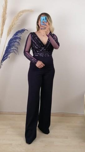 Çizgili Payetli Tulum Elbise - Mor