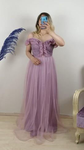 Şifon Fırfırlı Tül Etek Uzun Elbise - Pembe