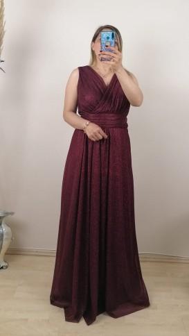 Kolsuz Büzgülü Simli Elbise - Bordo