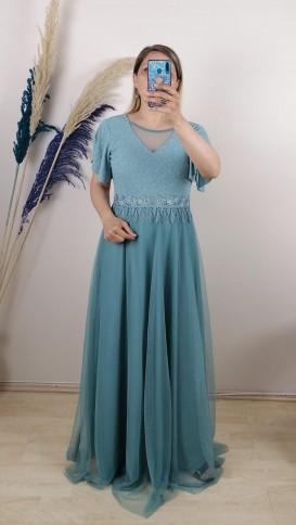 Beli Motifli Tül Etek Uzun Elbise - Minti Yeşil